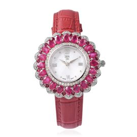 EON 1962 Swiss Movement African Ruby and Natural White Cambodian Zircon Watch with Red Genuine Leath