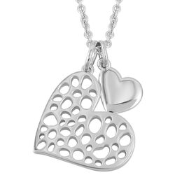 RACHEL GALLEY Rhodium Overlay Sterling Silver Heart Pendant With Chain (Size 30), Silver wt 11.05 Gm
