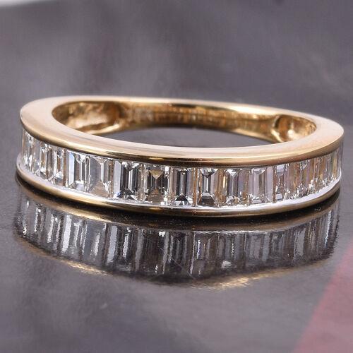 ILIANA 18K Yellow Gold IGI Certified Diamond (Bgt) (SI/G-H) Eternity Band Ring 1.00 Ct.