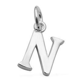 Thai Sterling Silver - Rhodium Overlay Sterling Silver N Initial Pendant