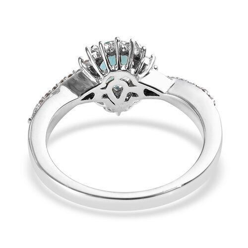 Grandidierite (Pear), Natural Cambodian Zircon Ring in Platinum Overlay Sterling Silver 1.07 Ct.