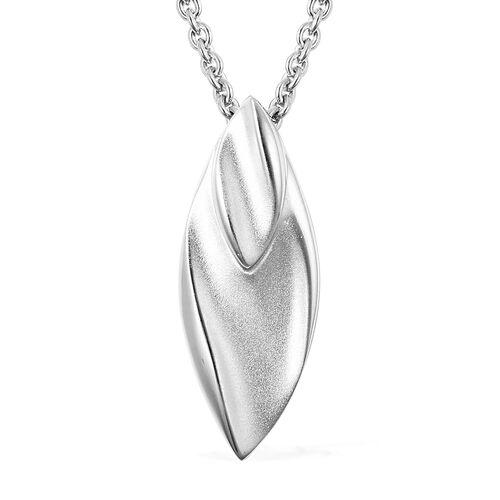 RACHEL GALLEY Rhodium Overlay Sterling Silver Sandblast Texture Leaf Design Pendant with Chain (Size