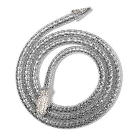 Designer Inspired- Crystal Studded Snake Adjustable Necklace (Size 44) with Magnet in Silver Plated