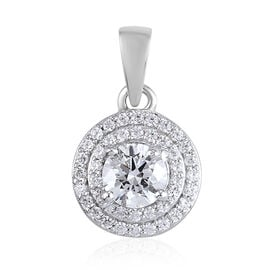 J Francis Platinum Overlay Sterling Silver Pendant Made with SWAROVSKI ZIRCONIA 0.79 Ct.