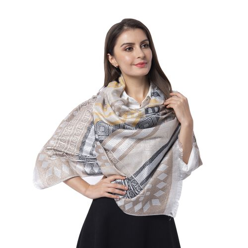 Yellow, Black, Cream and Silver Colour Scarf with Strip and Rhombus Pattern (Size 190x70 Cm)