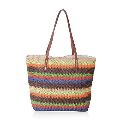 Eco-Friendly Rainbow Striped Straw Tote Bag Bio Degradable (Size 47x37x34x15.5 Cm)