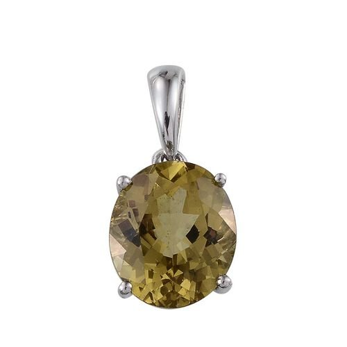 9K W Gold Natural Madagascar Canary Apatite (Ovl) Solitaire Pendant 4.750 Ct.