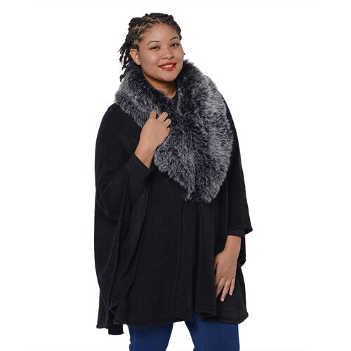 Designer Inspired Cape with Faux Fur Collar (One Size, L: 80cm) Black