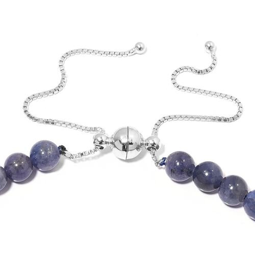 Signature Collection - Extremely Rare Tanzanite (Rnd) Graduated Adjustable Necklace (Size 18 to 22) with Magnetic Clasp in Rhodium Plated Sterling Silver 272.000 Ct.