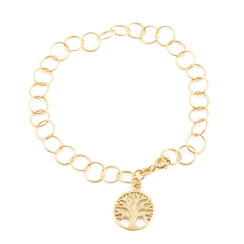14K Gold Overlay Sterling Silver Bracelet (Size 7.5) with Tree of Life Charm