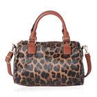 Leopard Print Satchel Bag (Size 30x22x12cm) - Brown