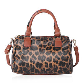 Leopard Print Satchel Bag (Size 30x22x12cm) - Brown