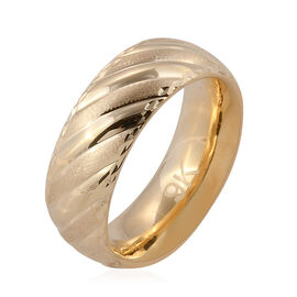 Premium Collection- Royal Bali Collection Handmade 9K Yellow Gold Textured & High Polish Band Ring