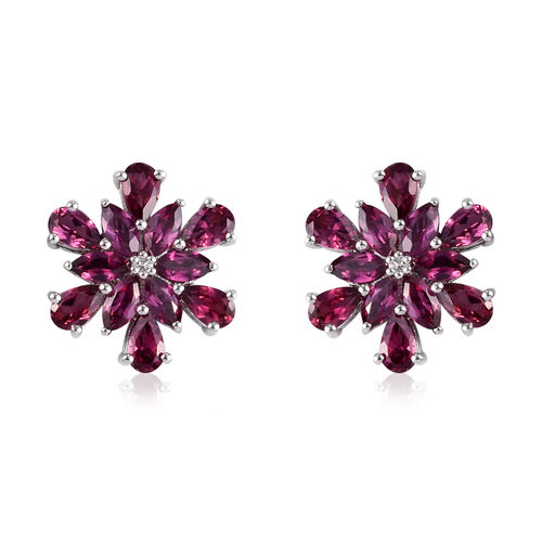 Rhodolite Garnet and Cambodian Zircon Snowflake Stud Earrings (with Push Back) in Platinum Overlay S