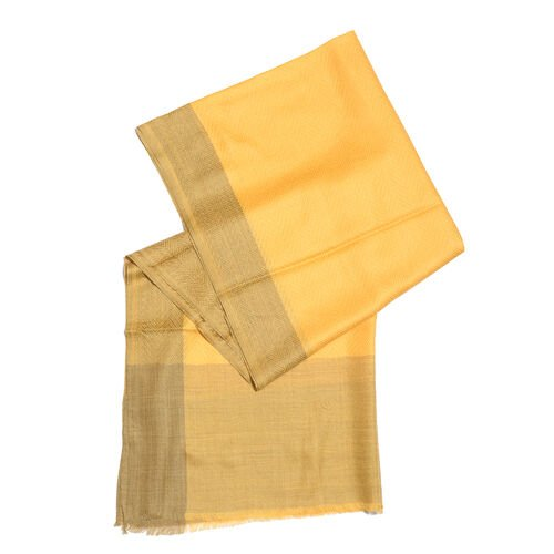 100% Cashmere Wool Mustard Yellow Colour Zigzag Pattern Shawl with Fringes (Size 200X65 Cm)