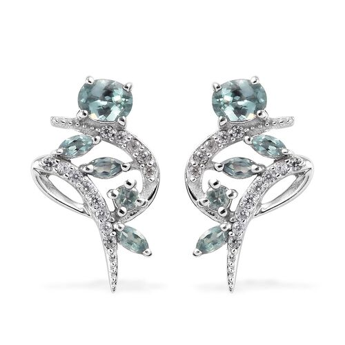 0.92 Ct Narsipatnam Alexandrite and Zircon Stud Earrings in Platinum Plated Sterling Silver