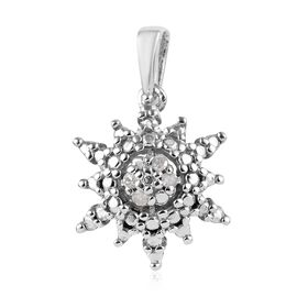 Diamond Snowflake Pendant in Platinum Plated Silver