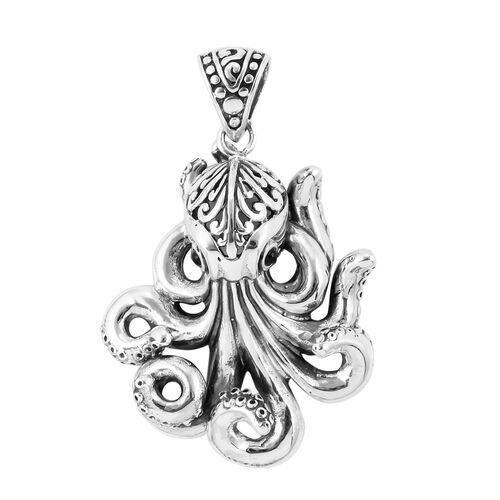 Royal Bali Collection- Boi Ploi Black Spinel (Rnd) Octopus Pendant in Sterling Silver, Silver wt 11.25 Gms.