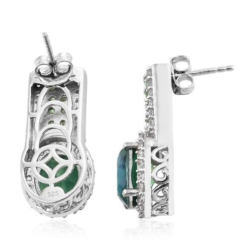 Peacock Quartz (Ovl), Natural Cambodian Zircon and Tsavorite Garnet Earrings (with Push Back) in Platinum Overlay Sterling Silver 7.500 Ct. Silver wt 7.84 Gms.