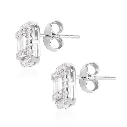 ELANZA Simulated Diamond (Bgt) Stud Earrings (with Push Back) in Rhodium Overlay Sterling Silver
