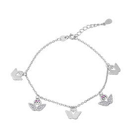 ELANZA Simulated White and Pink Diamond (Rnd), Adjustable Charm Bracelet (Size 7 with 1 inch Extende