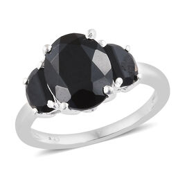 Boi Ploi Black Spinel (Ovl) Three Stone Ring in Sterling Silver 4.250 Ct.