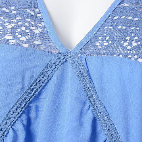 New Season-Cotton Sky Blue Colour Apparel with Lace Shoulder (Size 85x65 Cm)