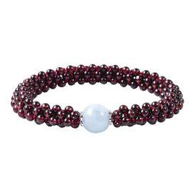 Espirito Santo Aquamarine and Mozambique Garnet Stretchable Beads Bracelet (Size 6.5) in Rhodium Ove