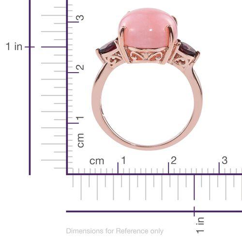Natural Peruvian Pink Opal (Ovl 9.75 Ct), Rhodolite Garnet Ring in Rose Gold Overlay Sterling Silver 11.000 Ct.