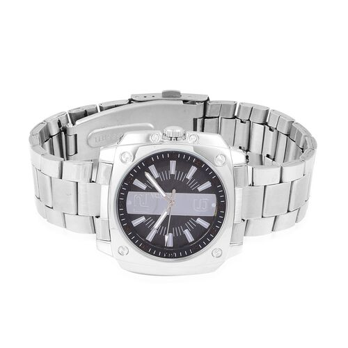 STRADA Japanese Movement Black Dial Water Resistant Watch in Silver Tone with Stainless Steel Back