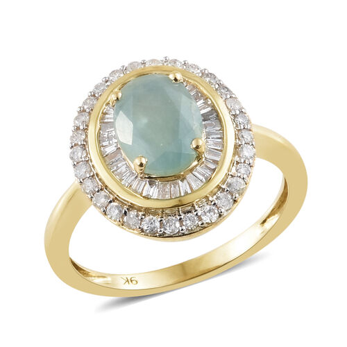 Signature Collection-9K Yellow Gold Extremely Rare Natural Grandidierite (Ovl 8x6mm) and Diamond (Rnd 0.50 Ct.) Ring 1.650 Ct.