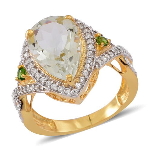 Green Amethyst (Pear 4.75 Ct), Russian Diopside and White Zircon Ring in 14K Gold Overlay Sterling S