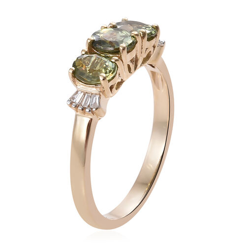 New York Close Out Deal 14K Yellow Gold Russian Demantoid Garnet (Ovl), Diamond Ring  1.500  Ct.