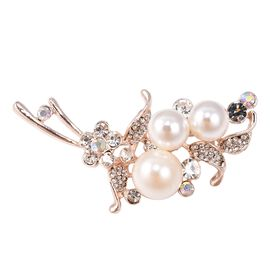 Simulated Pearl, White Austrian Crystal and Simulated Mystic White Crystal Brooch in Gold Tone
