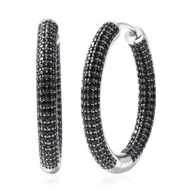 4.42 Ct Boi Ploi Black Spinel Hoop Earrings in Black and Rhodium Plated Silver 10.12 Grams