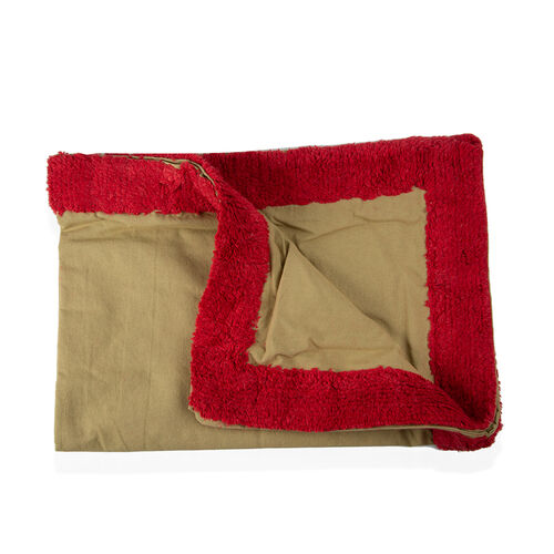 100% Cotton Sage Red Colour Tufted Bed Cover with Fringes (Size 260X240 Cm) and 2 Pillow Cases (Size 70X50 Cm)