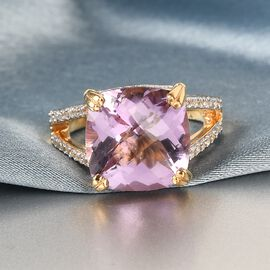 GP Itallian garden Leaf & Flower Collection - Rose De France Amethyst, Natural Cambodian Zircon and Kanchanaburi Blue Sapphire Ring in 14K Gold Overlay Sterling Silver 7.480 Ct.