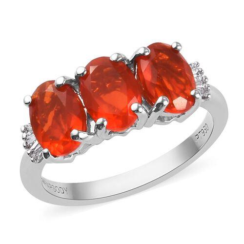 RHAPSODY 1.65 Ct AAAA Jalisco Fire Opal and Diamond Trilogy Ring in 950 Platinum VS EF