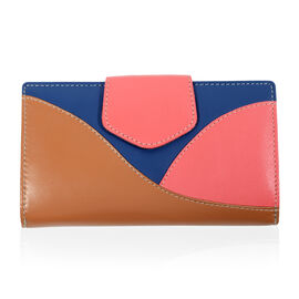 Close Out Deal - 100% Genuine Leather Wallet with Multi Compartments - Tan, Blue and Coral