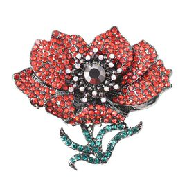 TJC Poppy Design Multicolour Austrian Crystal (Rnd) Poppy Floral Magnetic Brooch
