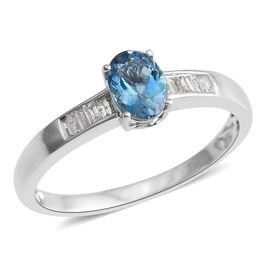 14K White Gold AA Santa Maria Aquamarine (Ovl), Diamond Ring 0.750 Ct.
