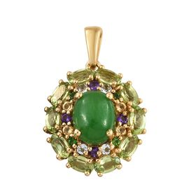 Green Jade (Ovl 3.50 Ct), Hebei Peridot, Amethyst, Citrine and Multi Gemstone Pendant in 14K Gold Overlay Sterling Silver 6.500 Ct.