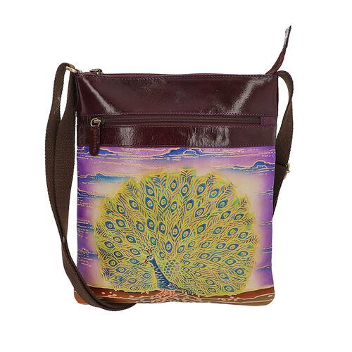 Dancing Peacock Pattern Crossbody Bag with Adjustable Shoulder Strap (Size 26x29 Cm) - Purple