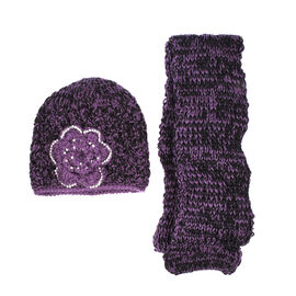 Purple Knit with a Cream tone Flower detail.