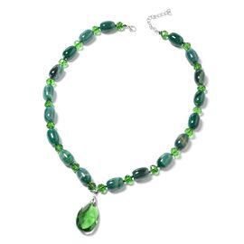 One Time Deal-Simulated Emerald (Pear), Verde Onyx Beads Necklace (Size 25 and 2 inch Extender) in Silver Plated