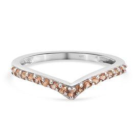 Orange Sapphire Ring in Platinum Overlay Sterling Silver