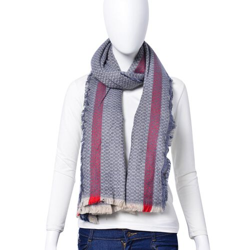 Light Blue, Navy and Red Colour Small Circle Pattern Scarf with Short Tassels (Size 180x80 Cm)