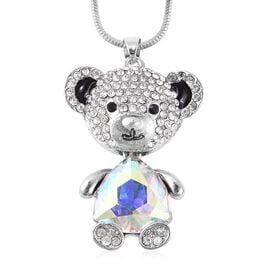 Simulated Mercury Mystic Topaz, White and Black Austrian Crystal Enamelled Teddy Bear Pendant with C