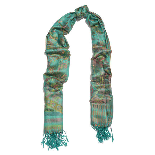 SILK MARK - 100% Superfine Silk Green, Golden, Red and Multi Colour Floral and Paisley Pattern Jacquard Jamawar Scarf with Fringes (Size 180x70 Cm) (Weight 125-140 Grams)