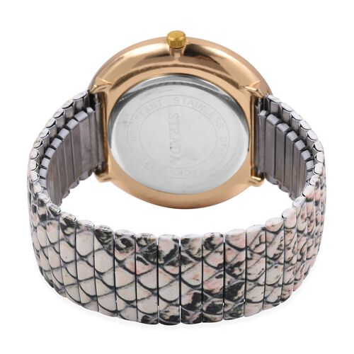 Set of 2 STRADA Japanese Movement White Crystal Studded Water Resistant Watch with Snake Skin Pattern Strap and White and Black Colour Pen